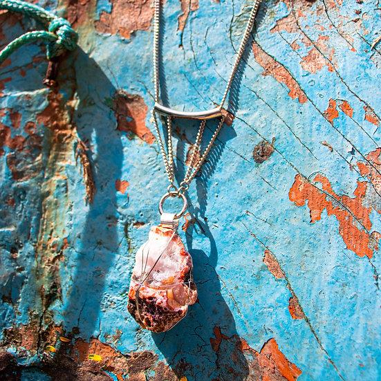 Colar Comprido de Metal Prateado com Cristal Ágatha