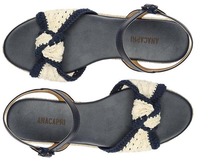 Sandália Azul Tira Crochê Bicolor