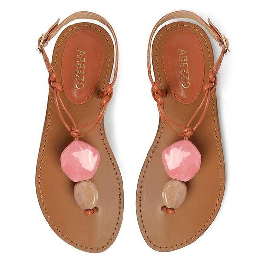 Sandália salto rasteiro couro/marrom