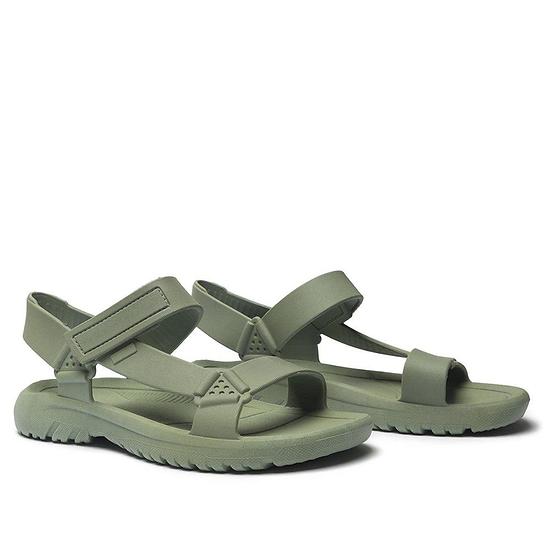 Sandália salto rasteiro plastico verde