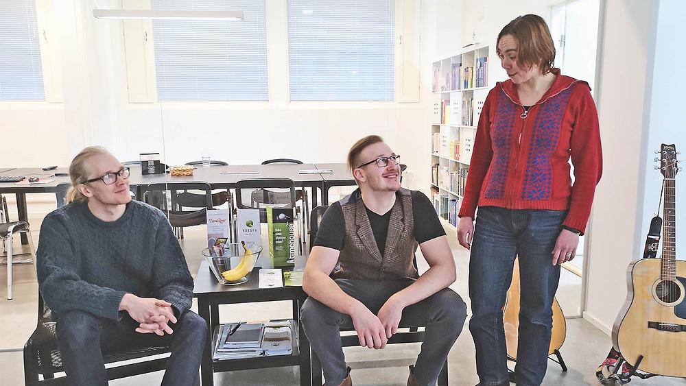 Kuvassa vasemmalta: Mikko, Samu ja Mira