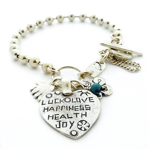 silver bracelet, hamsa, hand of fatima, gift for her, four leaf clover, good luck charm