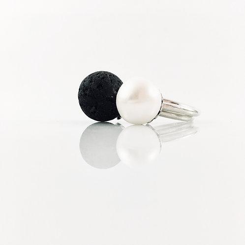 Silver Pearl Lava Ring