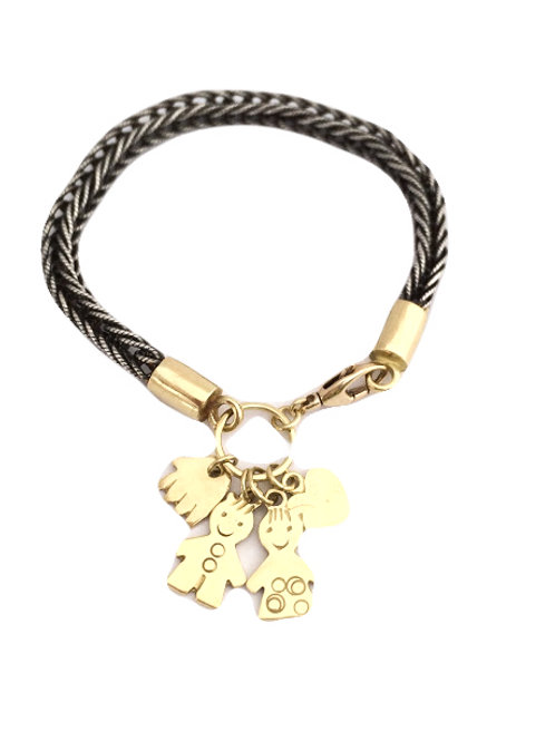 Foxtail silver chain Bracelet with Pendants and charms