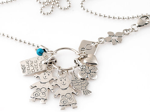 Silver Necklace Boy and Girl Pendants
