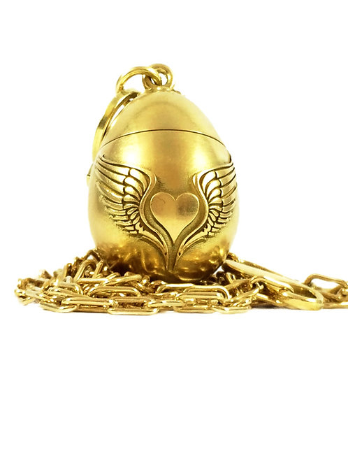18k Golden Egg box Pendant Necklace
