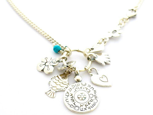 Silver necklace with charms