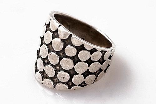 טבעת כסף רחבה עבודת יד