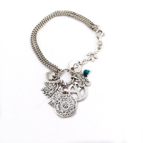 Silver Bracelet lucky pendant