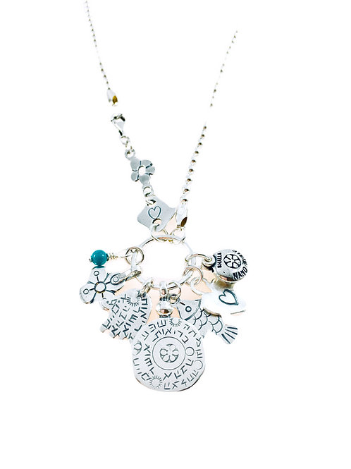 Silver Charms & Nano Bible Necklace