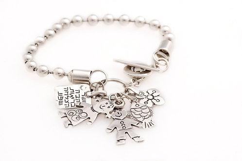 Boy and Girl charm Silver Bracelet