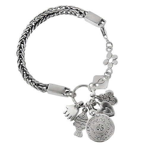 Foxtail Silver Bracelet withcharms