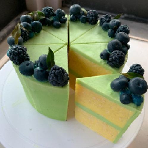 Blueberry & Lemon Verbena Cake Slice