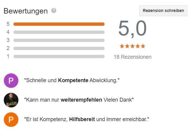 Achten Sie bei der Wahl Ihres Kfz-Sachverständigen auch auf die Bewertungen. Wir haben eine fünf Sterne Bewertung und sind somit der beliebteste Gutachter in Krefeld und Neuss.