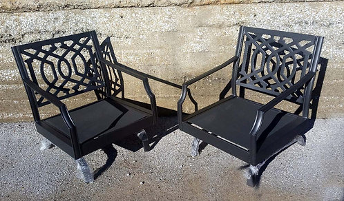 Set of 2 Harper Metal Patio Motion Club Chairs