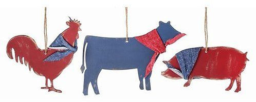 August Grove	3 Piece Weathered Farm Animal Christmas Ornament Set