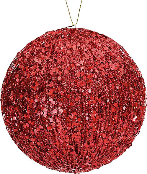 Groved Glitter Ball Ornament, red