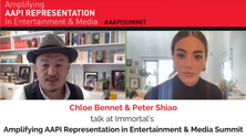 Chloe Bennet and Peter Shiao talk at Amplifying AAPI Summit
