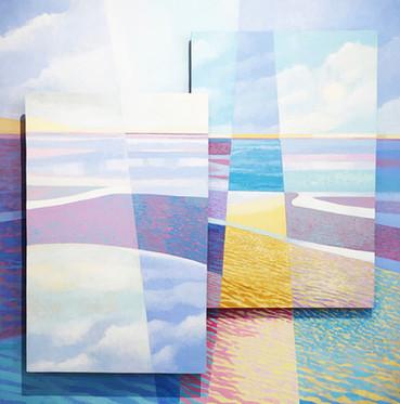 Low Tide II acrylic relief on board  72x72 cm