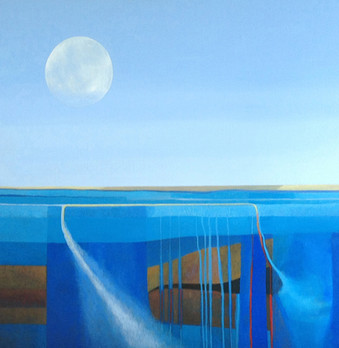 Moon Fire and Water acrylic on canvas 57x57 cm