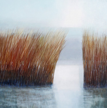 Suffolk Reeds acrylic on canvas 67x67 cm