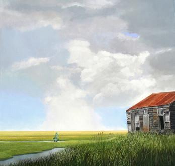 Claude's Barn   -               Sold acrylic on canvas 100x100 cm