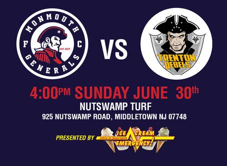 Generals Home Opener This Sunday June 30th at 4PM Against Trenton Rebels