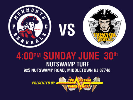 Generals Home Opener This Sunday June 30th at 4PM Against Trenton Rebels