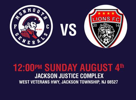 Generals Face Jackson Lions In Final Match Of Season.