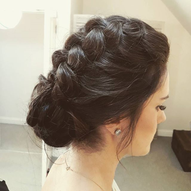 #Braided #bridesmaid for yesterday's wedding st _milbridgecourt #farnham #surreybride #hairup #brida