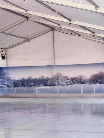 Winterworld 20 meter Ice Skating Rink Backdrop  Install