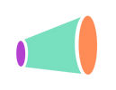 The As You Can logo, a minimalistic bullhorn colored in purple, turquoise, and orange.
