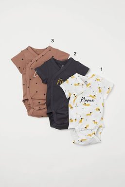Custom Name on H&M 3-pack wrapover bodysuits -Dark beigepink/Dogs