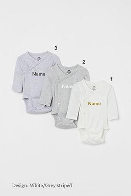 Custom Name on H&M 3-pack long-sleeved bodysuits (0-9mths) - White Grey/Striped