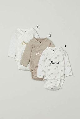 Custom Name on H&M 3-pack long-sleeved bodysuits (0-9mths) - Hedgehogs