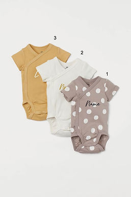 Custom Name on H&M 3-pack wrapover bodysuits -Greige/Spotted