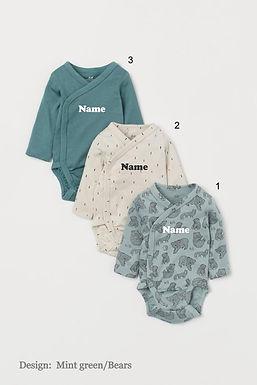 Custom Name on H&M 3-pack long-sleeved bodysuits (0-9mths) - Mint Green/Bears
