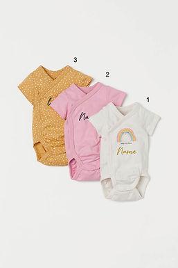 Custom Name on H&M 3-pack wrapover bodysuits - Yellow Pink/Rainbow