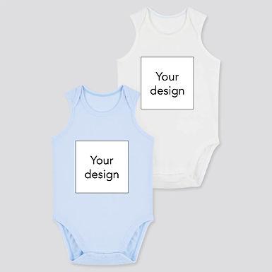 Custom Design on Uniqlo AIRism Cotton Blend Bodysuit 2 Pack - WhiteBlue (0-24m)
