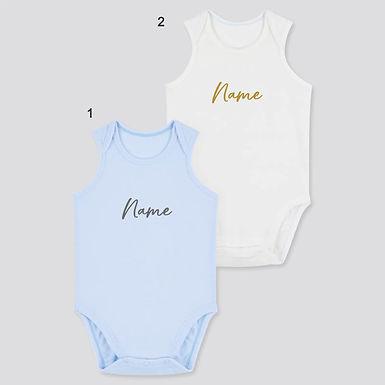 Custom Name on Uniqlo AIRism Cotton Blend Bodysuit 2 Pack - WhiteBlue (0-24m)