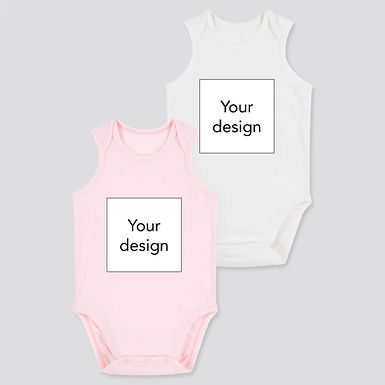 Custom Design on Uniqlo AIRism Cotton Blend Bodysuit 2 Pack - WhitePink (0-24m)