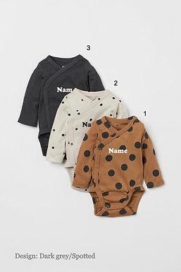 Custom Name on H&M 3-pack long-sleeved bodysuits (0-9mths) - Dark Grey/Spotted