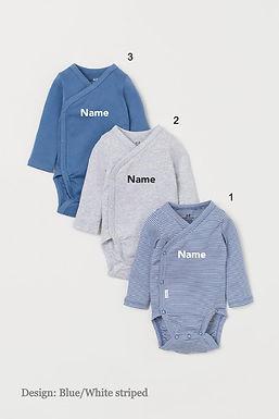 Custom Name on H&M 3-pack long-sleeved bodysuits (0-9mths) - Blue White/Striped