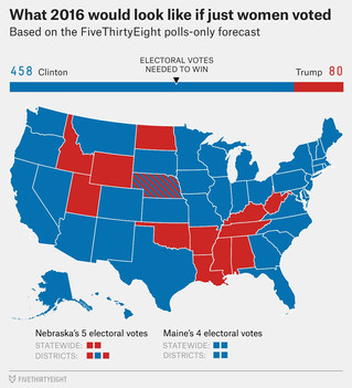 What The US Electoral Map Would Look Like If Men And Women Voted Exclusively