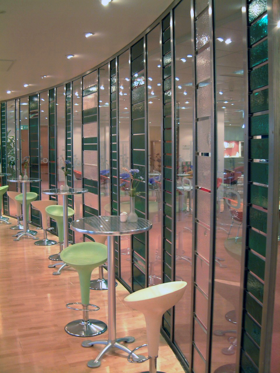 Recycled glass partition