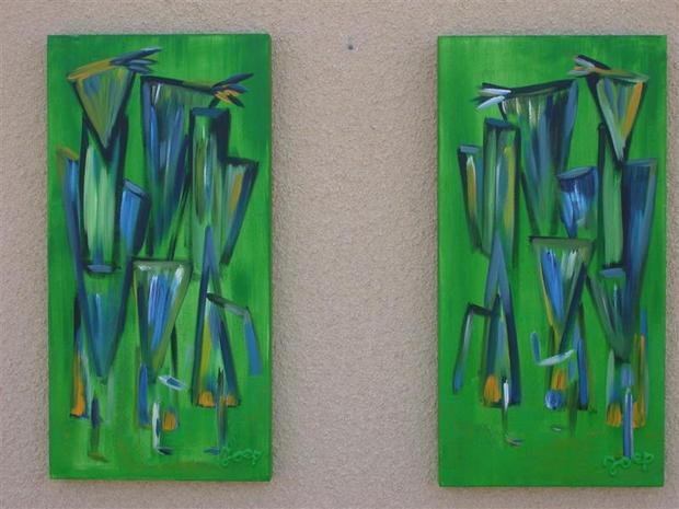 Mirror image green - Diptych
