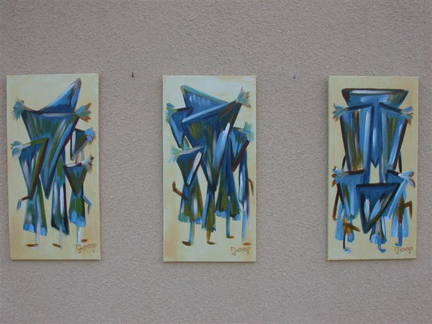 Behind Mask 1-2-3 (Private Collection)