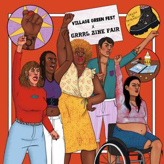 Outdoor Banner for Grrrl Zine Fair at Village Green Fest