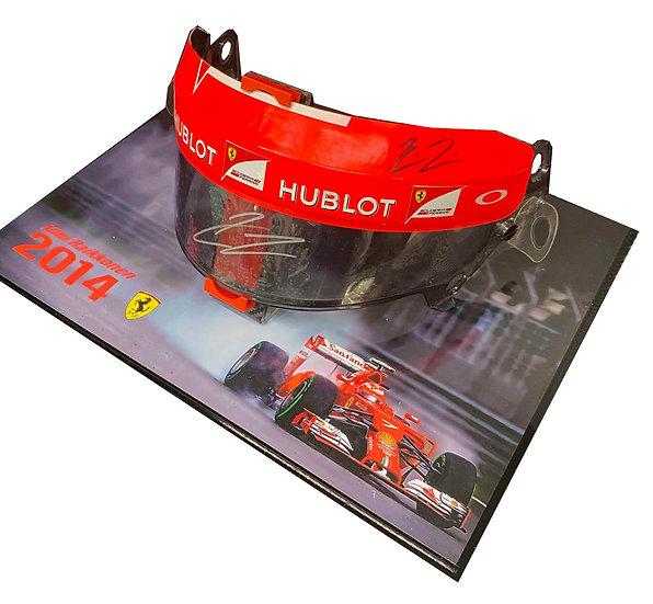 Kimi Raikkonen signed and used 2014Ferrari visor