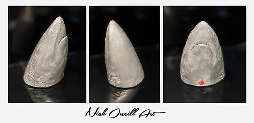 Great white shark head paperweight sculpture